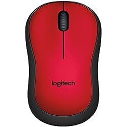 Logitech M220 SILENT - Souris-sans fil Ambidextre Silencieuse - Capteur Optique avec 90% de Réduction du Bruit - Fonction Auto-sleep - USB pour Windows - Mac - Chrome OS et Linux - Rouge