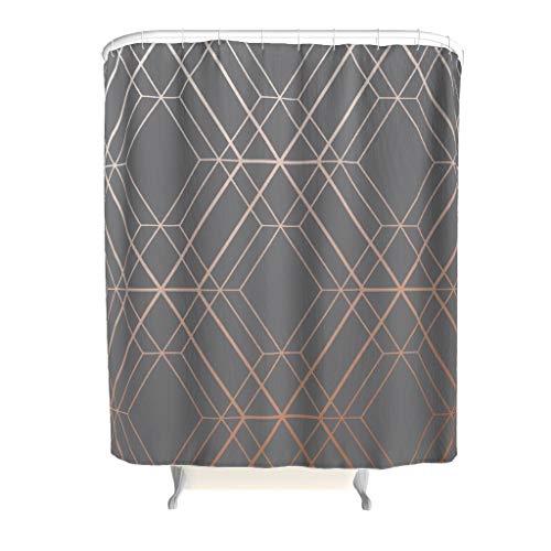 Anti-Schimmel Duschvorhang Geometrie Streifen Badvorhang Anti-Bakteriell Blickdicht aus Stoff mit Duschvorhangringe für Badezimmer Grau 180x200cm (Grau Duschvorhang Streifen)