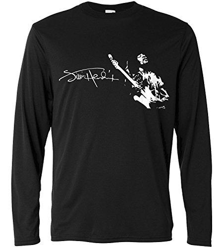 T-shirt a manica lunga Uomo - Jimi Hendrix - Signature - Long Sleeve 100% cotone LaMAGLIERIA, L, Nero