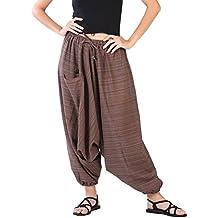 CandyHusky Telas a rayas de Algodón Unisex Holgada Hippie Boho Aladdin Yoga Harem Pantalones