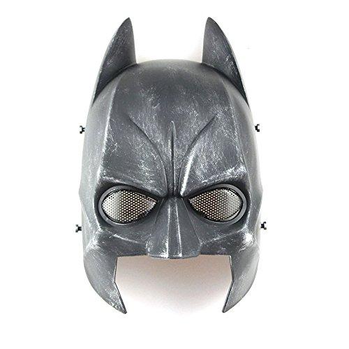 -p Batman Maske Softair CS Planspiel Field halben Kopf Maske Schützen Armee Cosplay Maske Gear Silber Schwarz ()