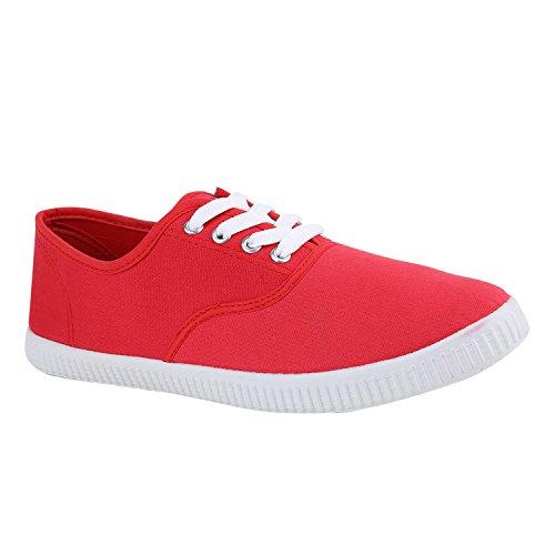 Sportliche Damen Herren Sneakers | Unisex Basic Freizeit Schuhe | Schnürer Stoffschuhe | Prints viele Farben Rot Red