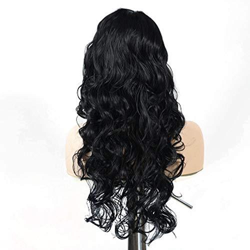 Halloween jeu de rôle Perruque Femme Grande Vague Noire cheveux Longs bouclés Visage fausse Perruque fil Haute température ()