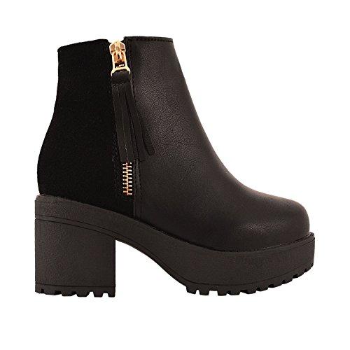 Enfants Filles Épais Talon Moyen Bottine Faux Cuir Velours Chelsea Chaussures Pointure synthétique noir/daim