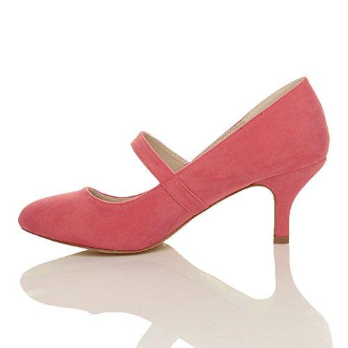 Damen Hoher Absatz Mary Jane Formal Abend Party Ball Pumps Schuhe Größe Korallenrot Wildleder