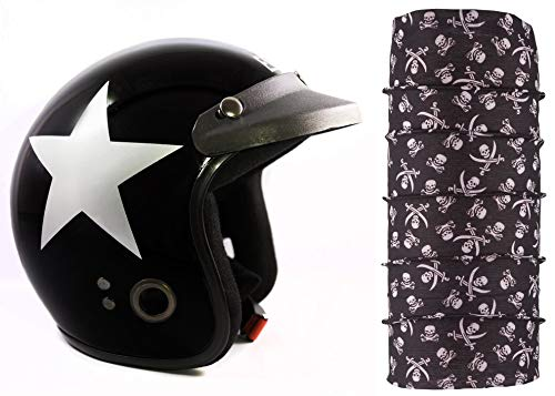 Autofy Habsolite Ecco Star Front Open Helmet (Black and Grey, M) and Autofy Pirate Skull Print Lycra Headwrap Bandana for Bikes (Black and White, Free Size) Combo