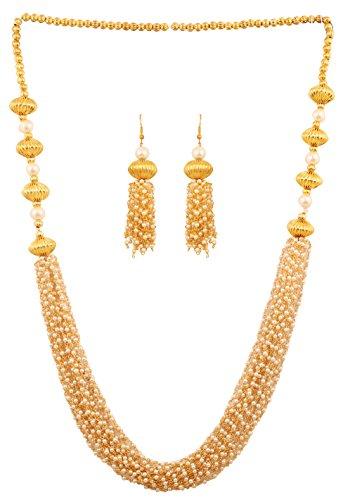 Touchstone, Halskette mit künstlichen Perlen im indischen Bollywood Stil, Schmuck für Damen, goldfarben