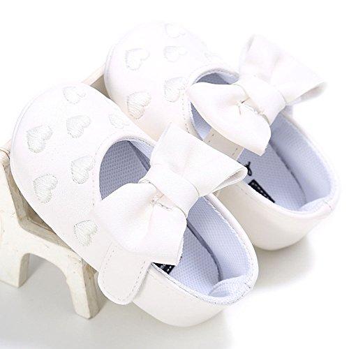 hibote Nouveau-né Bébé fille en cuir souple princesse Big bowknot Chaussures enfant en bas âge Prewalker Red 6-12M blanc