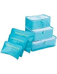 Cooja Set de 6 Travel Organizers 3 Packing Cubes + 3 Bolsas, Impermeable Organizador de Viaje para Maletas Bolsa Equipaje para Ropa Sucia Zapatos Maquillaje