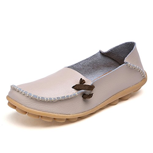 IFashion Damen Leder Mokassin Bootsschuhe Slip on Loafers Slipper Flats Low-top Erbsens Chuhe Beige 41.5