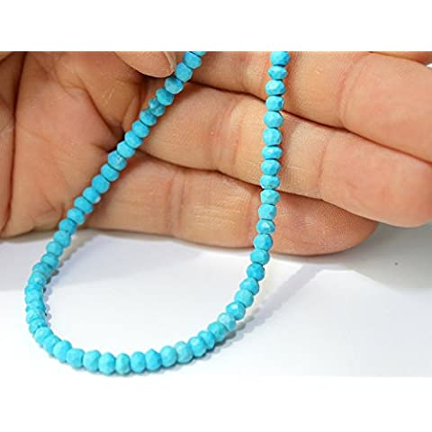 Turquoise Beads 3.5x2.5mm-4x3mm Hand-cut Faceted Rondelle, A- Grade, Sold Per 15.7inch ( 40cm ) Strand, Pre-wired