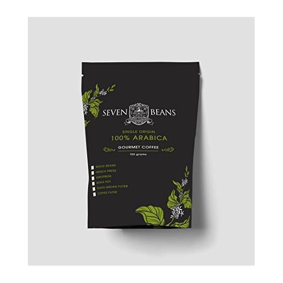 100% Arabica Medium Roast 150 gm Bag of Indian Gourmet Coffee by Seven Beans Coffee Company