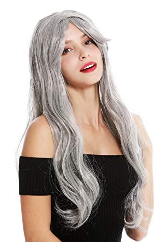 WIG ME UP - 90924-ZA68E Perücke Damen Karneval Fasching Halloween lang glatt helles Grau (Halloween Für Hippie-perücken)