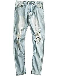 28a8968ed87ac BOLAWOO Pantalon en Denim pour Jean en Homme Détruit Pantalon Vintage avec  Mode Chic TR
