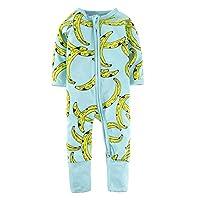 BIG ELEPHANT Unisex Baby 1 Piece Long Sleeve Sleepwear Banana Print Zipper Romper L17(Size: 18-24 Months)