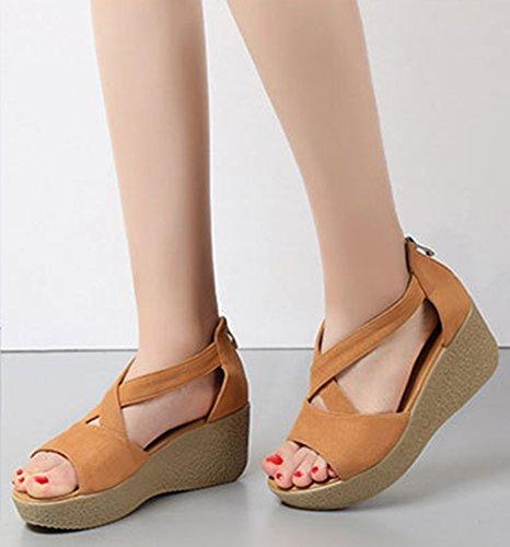 Wealsex damen sandalen keilabsatz sommer schuhe Beige
