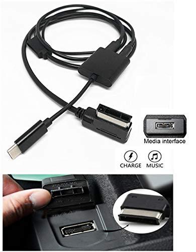 USB C Aux Ladekabel für Mercedes Benz Auto Media Interface Typ C Auto Digital Audio Schnellladesystem kompatibel mit Pixel 2 XL HTC U11 U12+ Samsung S9 S8 Note 8 LG G6 V30 für ausgewählte MB Modell