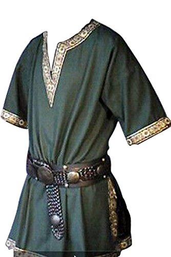tianxinxishop Manga Corta Medieval de Los Hombres Tunica Medieval Camisa con Cuello en V Sin Correa Verde, XXL