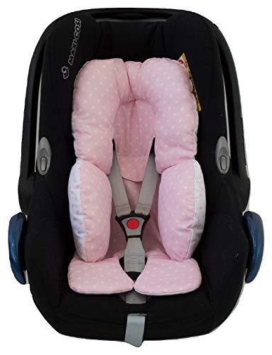 Universal Auto-Sitzverkleinerer für Gruppe 0, Maxi Cosi, Babyschale, Babywippe oder Kinderwagen. Verfügbar i mehreren Modellen und Farben (Sterne-Rosa)