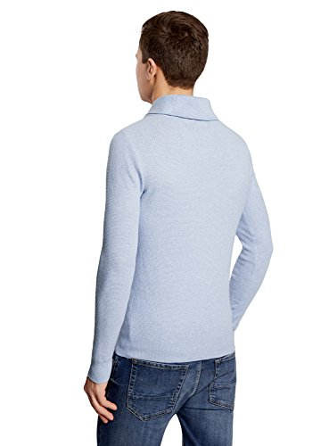 oodji Ultra Homme Pull Coupe Ample à Col Châle Bleu (7000M)