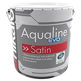 Aqualine Satin Evo - 0.75 L - White Wall and Ceiling Paint, Interior for Decoration, Laundry