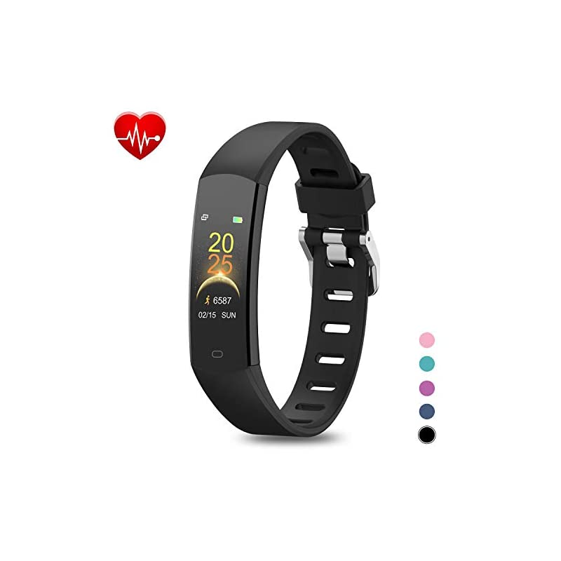 BingoFit Kids Fitness Tracker, Slim Sports Activity Tracker with Heart Rate Monitor Waterproof Pedometer Watch with…