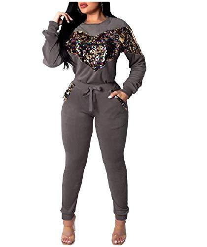 CuteRose Women's Long-Sleeve Fashion Pullover 2-Piece Tracksuit Jog Set Grey S