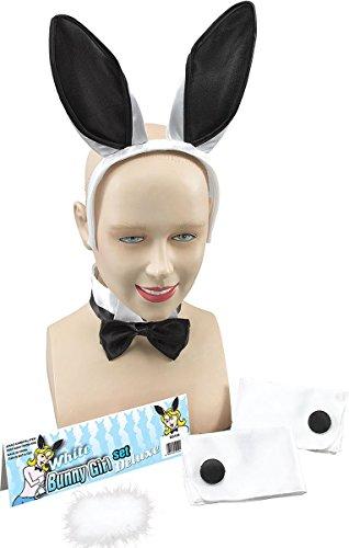 Zubehör Girl Kostüm Bunny - Play Junge Junggesellinnenabschied Ausgefallen Party Bunny Girl Schwanz Ohren Fliege Manschette Set Zubehör - Weiß Schwarz