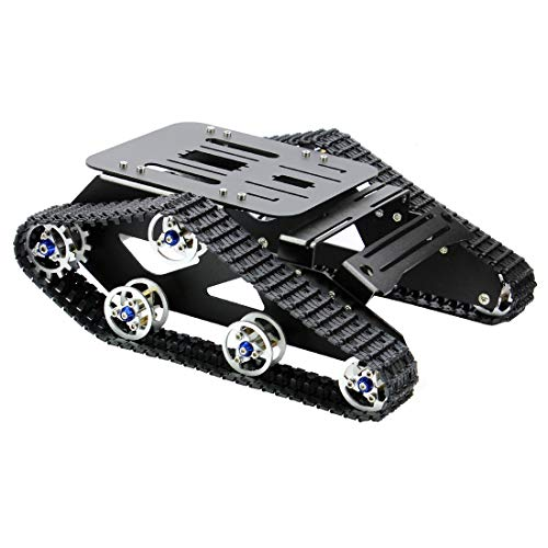 FEICHAO Smart Car Platform Tracked Robot Metal Aluminium Alloy Tank Chassis with Powerful Dual DC 12V Motor for DIY STEM Education Assembled