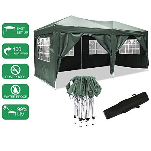Bunao Pavillon 3mx6m, Tente de pavillon Pliable imperméable à l'eau, Tente de pavillon Pliante avec 4 côtés pour Jardin/fête/Mariage/Pique-Nique/marché (Vert)