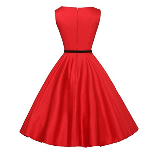 CLEARANCE!!! Women Dress Vintage Bodycon Sunday77 Women Dress Valentine's Day Sleeveless Casual Retro Evening Party Prom Swing Dress Pleated Mid-Calf Empire Solid Evening Party Dress