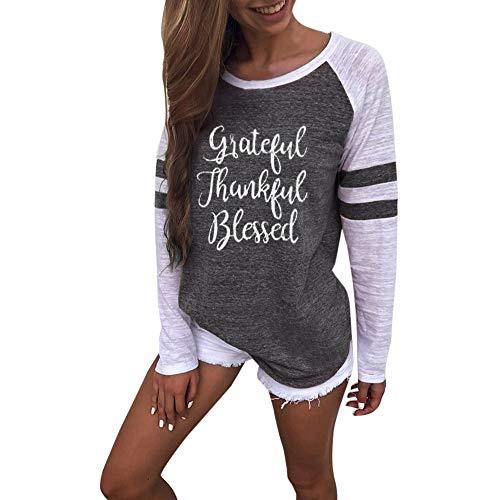 Damen Streifen Langarmshirt Tops MYMYG Elegant Lose Baseball T-Shirt Sweatshirt Bluse(B3-Grau,EU:42/CN-M)