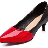 ZQ Zapatos de mujer-Tac¨®n Cono-Tacones / Puntiagudos-Tacones-Oficina y Trabajo / Casual-PU-Negro / Rosa / Rojo / Blanco , pink-us10.5 / eu42 / uk8.5 / cn43 , pink-us10.5 / eu42 / uk8.5 / cn43