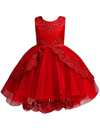 aa12d569e Vestido Lonshell Vestido Elegante para niñas flor de la boda de encaje  vestido de princesa vestido de fiesta ropa formal Vestido de Bowknot de…