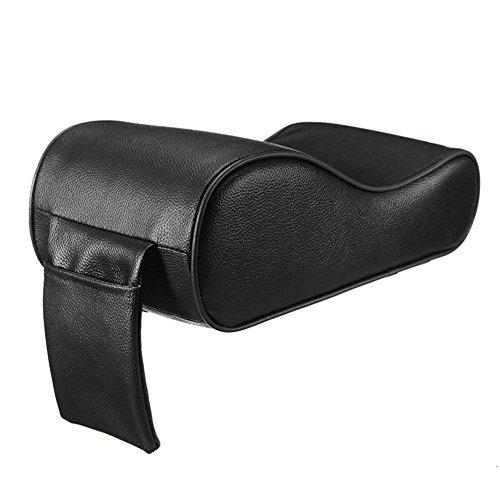 SODIAL PU Pelle Auto Copribracci automatici universali dei braccioli della schiuma di memoria del cuscinetto del bracciolo con la tasca del telefono per BMW / Audi / Honda - Nero