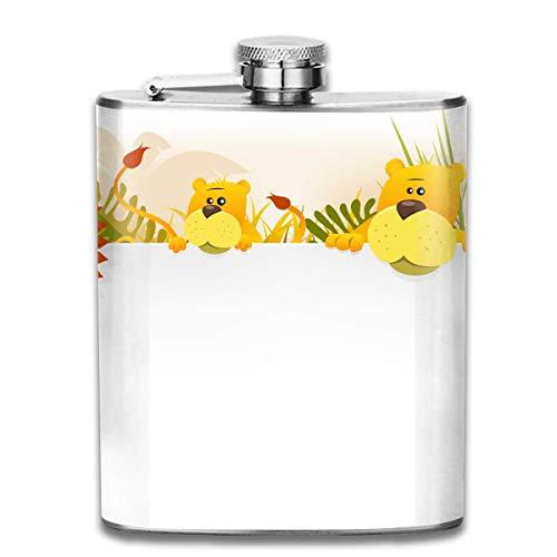 k,Cartoon Lion Family Pocket Funnel,Screwed Top Liquor Alcohol Whiskey Spirits Hip for Men,7 OZ ()