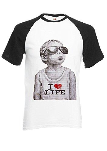 Banksy Naughty Kid I Love Life Heart Chickky Black/White Men Women Unisex Shirt Sleeve Baseball T Shirt-M par  NisabellaLTD