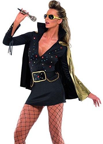 Smiffys-Damen-Elvis-Viva-Las-Vegas-Kostm-Kleid-und-Umhang-Gre-M-33253