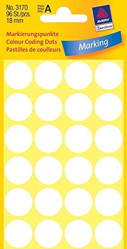 Avery 3170 Círculo Blanco 96pieza(s) - Etiqueta autoadhesiva (Blanco, Círculo, Papel, 1,8 cm, 96 pieza(s), 24 pieza(s))