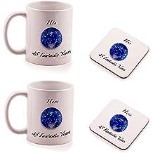 Set regalo composto da 2 sottobicchieri e 2 tazze, con scritta in inglese His e Hers, per 45° anniversario di matrimonio