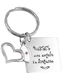 Amosfun Llavero de Enfermera con Grabado de corazón para Enfermeras con ángeles en Disfraz, Llavero