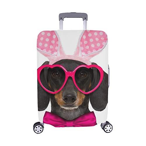 (Nur abdecken) Dachshund-Wurst-Hund Bunny Easter Ears Stockfoto Muster-Spandex-Laufkatzen-Reise-Gepäck-Schutz-Koffer-Abdeckung 28,5 x 20,5 - Dackel Kostüm Muster