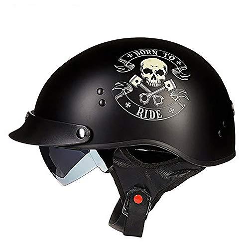 QXFJ Open Face Helm Jethelm Helm Mopedhelm ABS + EPS Design Mit DREI KnöPfen Versteckte Sonnenbrille Doppel-D-Schnalle Leicht Atmungsaktiv Herausnehmbares Futter Hut DOT-Zertifiziert