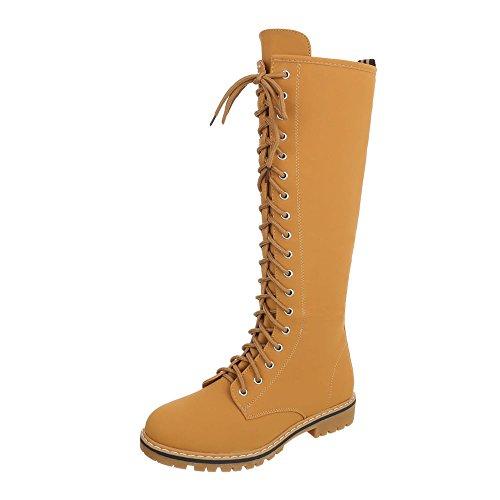 Ital-Design Schnürstiefel Damen-Schuhe Klassischer Stiefel Blockabsatz Schnürer Reißverschluss Stiefel Camel, Gr 39, Nc82- -