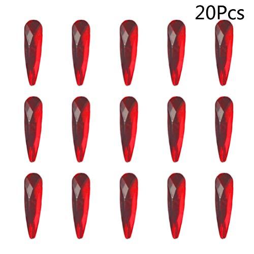 SUPVOX 20pcs cristal AB strass Art strass dos plat 3D décoration des ongles gemmes rouge
