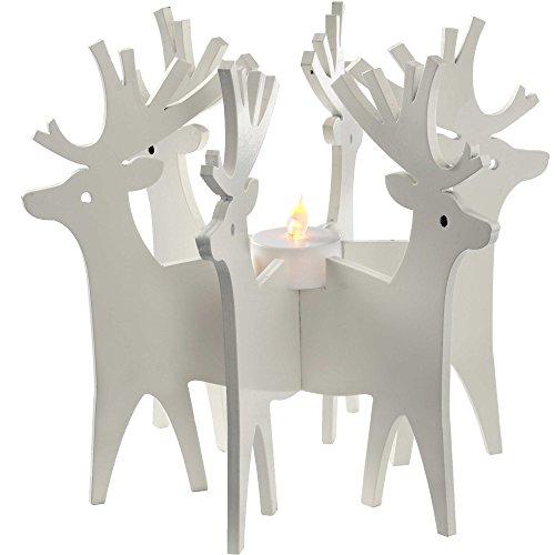 WeRChristmas Weihnachtsdekoration Rentier Kerzenhalter und Teelicht, Holz, 22cm