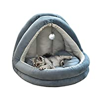 YunNasi Cat Bed Cat Cave Pet Bed for Cats Dogs Comfortable 55X44X44cm (XL, Blue Navy)