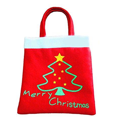 LIUYUNE,Kreative Weihnachtsbaum Muster Weihnachtsmann Süßigkeiten Tasche Handtasche Familie Party Dekoration Geschenk Tasche Weihnachten (Color:Flamme)