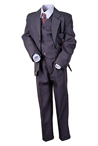 Hei Mei 5tlg. Jungen Fest Anzug Kommunionsanzug Smoking Kinderanzug für Viele Festliche Anlässe M133gr Grau 6/110/116