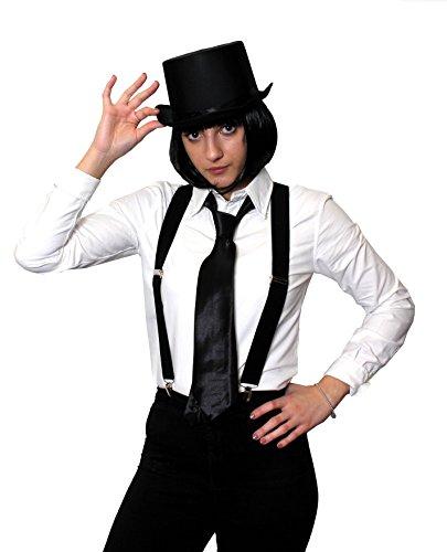 Pulp Dress Fancy Fiction Kostüm - ILOVEFANCYDRESS Gangster KOSTÜM VERKLEIDUNGS ZUBEHÖR Set = 4 TEILIGES SCHWARZES Set=SCHWARZEN BOB PERÜCKE+ HOSENTRÄGERN+Krawatte +Zylinder=Fasching Karneval Halloween Party